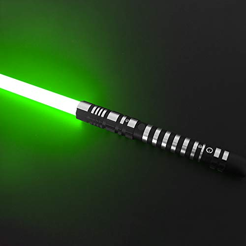 YDD Lightsaber Led Light Metal Aluminum Hilt, Ghost Premium Force FX Black Series Light Saber for Adults, Support Real Heavy Dueling (Green)