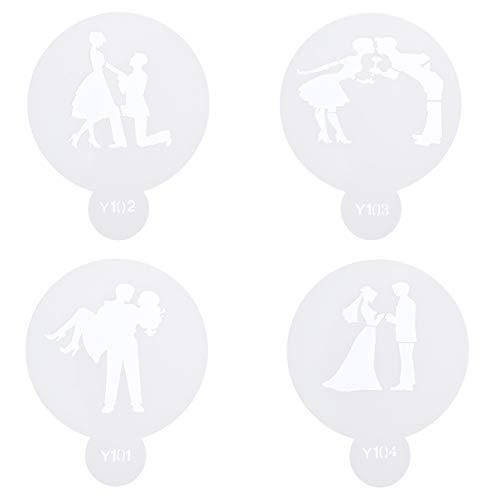 heshengj - Set di 4 Stencil per Torte e Biscotti, per Coppie, Amanti di Cupcake e Biscotti 01
