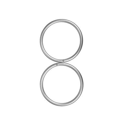 Topind 7,6cm di grandi dimensioni in alluminio portabebè anelli per marsupi e fasce di 2pezzi argento