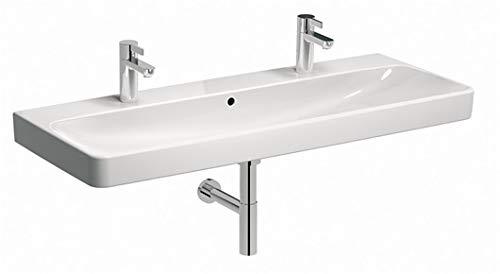 Geberit Smyle Square Waschtisch 500253, 120x48cm, mit Zwei Hahnlöchern, mit Überlauf, Farbe: Weiß - 500.253.01.1