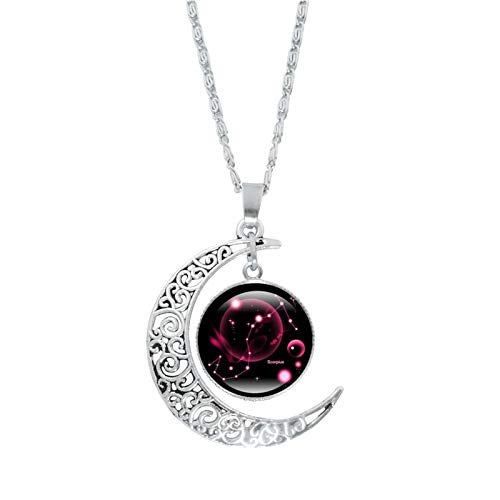 FAQUAN Constellation Moon Necklace, Meniscus Silver Chain with Pattern, Constellation Gem Pendant, GiftS for Women/Girls In New Year/Birthday/Valentine's Day (Scorpio)