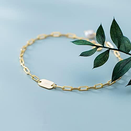 N/A El día de San Valentín s925 pulsera de plata de las mujeres de la moda de disco ovalado de perlas de moda joyería de la mano aniversario del día de la madre