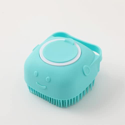 yqs Cepillo de lavandería Mascota Perro champú masajeador Cepillo Gato Masaje Peine Scrubber Scrubber Cepillo de Ducha para bañarse Cabello Suave Limpio Silicona Pinceles (Color : Smiling Face Blue)