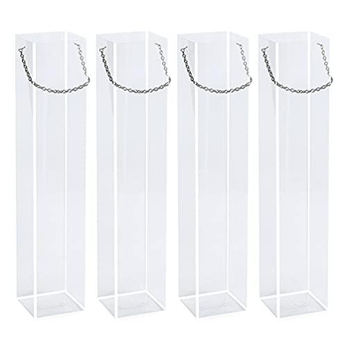 WINOMO 4 bolsas de embalaje con asa transparente para floristería y caramelos, bolsa práctica para bodas, aniversarios de inauguración de la casa