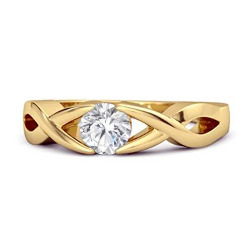 Shine Jewel Multi Elija su Piedra Preciosa Anillo de Mujer apilable Chapado en Oro Amarillo Redondo de 3,00 mm de Plata de Ley 925 (14, cz Blanca)