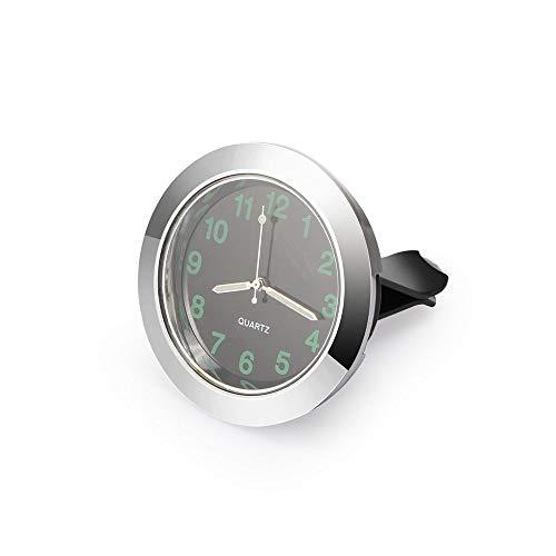Preisvergleich Produktbild Wecker Luminous Automatische Instrument Uhr Mini-Auto-Auspuff-Quarz-Taktgeber mit Klipp-Automatik Exhaust Vent Uhr Car Styling Holz (Color : Silver)