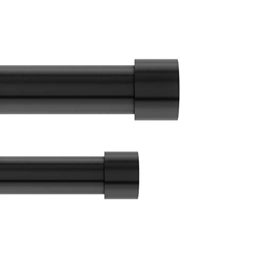 Umbra Cappa 1-Inch Double Curtain Rod, Includes 2 Matching Finials, Brackets & Hardware, 120 to 180-Inch, Brushed Black