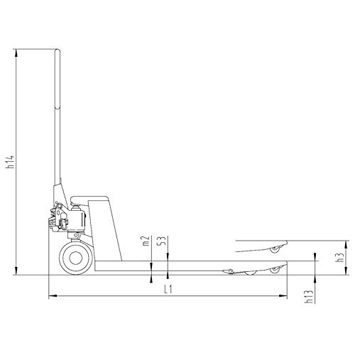 Palettenwagen Hubwagen 2,5t 2500 kg Tragkraft / 1150 mm Gabellänge - Tandembereifung weiß Nylon - für Europaletten