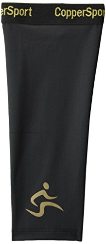 CopperSport Copper Compression Calf Sleeve Support - Suitable for Athletics, Tennis, Golf, Basketball, Sports, Weightlifting, Joint Pain Relief, Injury Recovery (Single Sleeve), Black, X-Large