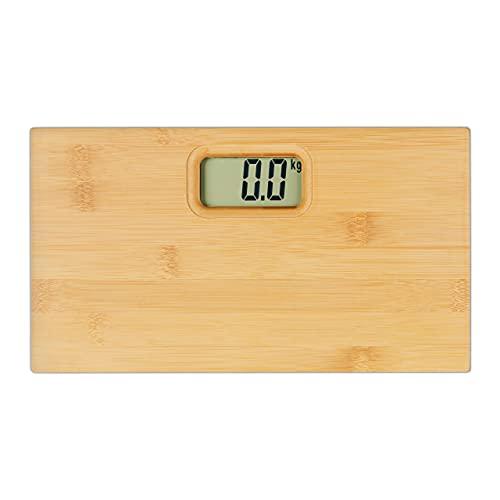 Relaxdays Báscula digital de bambú, estrecha, hasta 180 kg, 30 x 16,5 cm, para baño cuadrado, natural