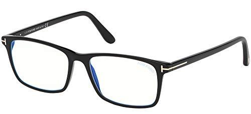 Eyeglasses Tom Ford FT 5584 -B 001 Shiny Black, Rose Gold't' Logo/blue Block Le,...
