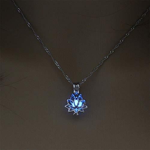 NYAOLE Kreative Höhlte Lotus Glow Anhänger Halskette Leuchtende Lotus Phase Box Schmuck Kette Frauen Mädchen Charme Schmuck Zubehör, Sky Blue