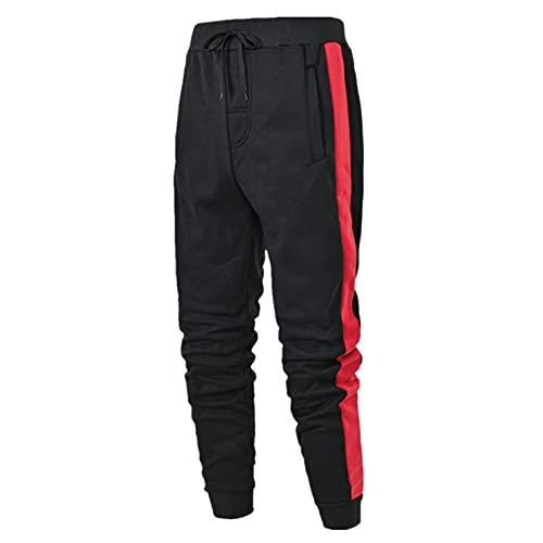 WXZZ Pantaloni sportivi da uomo, alla moda, per il tempo libero, per la corsa, con strisce strette, con orlo gamba stretta, pantaloni da jogging, Colore: rosso, L