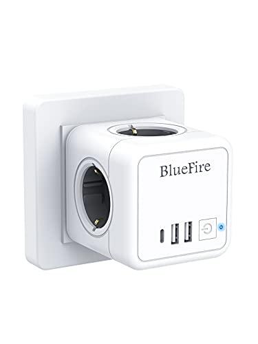 BlueFire Enchufe USB,7 en 1 Powercube Ladron Enchufes con 4 Tomas de CA,2 Puertos USB y Type C, Cubo Enchufe Multiple Pared con Interruptor, Cargador USB Compatible con iPhone, iPad,Tabletas