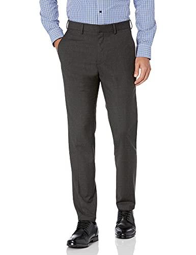 Kenneth Cole REACTION Men's Premium Stretch Texture Weave Slim Fit Dress Pant, Charcoal Heather, 31Wx30L