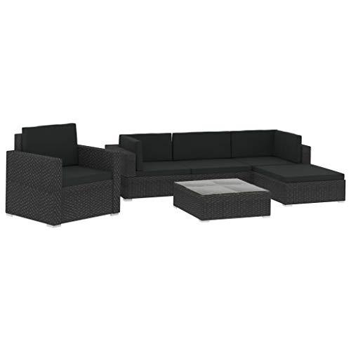 Festnight 6-delige Loungeset met kussens poly rattan Slaapbank van stof Duurzaam hardhouten frame bank met armleuningen zwart