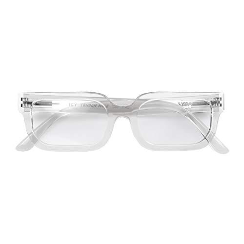 LONDON MOLE Eyewear | Icy Blue Light Blocking Glasses | Square / Rectangle Glasses | Cool Blue Blockers | Anti Eyestrain for Screens | Men's Women's Unisex | Spring Hinges | (Transparent)