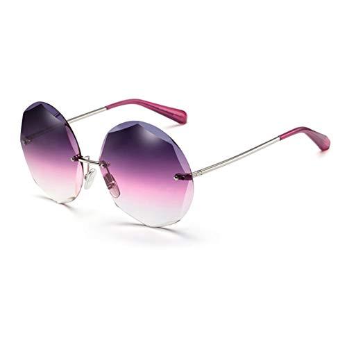 LDH Gafas de Sol Retro, Gafas de Sol para Mujer Sin Montura, Gafas de Sol Poligonales, Gafas de Metal Anti-Ultravioleta, Anti-UVA Y Anti-UVB (Color : A)