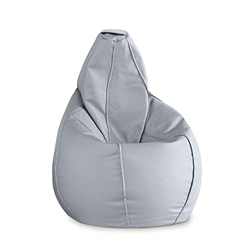 Puff Pera XL Polipiel sillón moldeable salón terraza habitación | con Relleno. | No Necesita Montaje. (XL, Gris Claro)