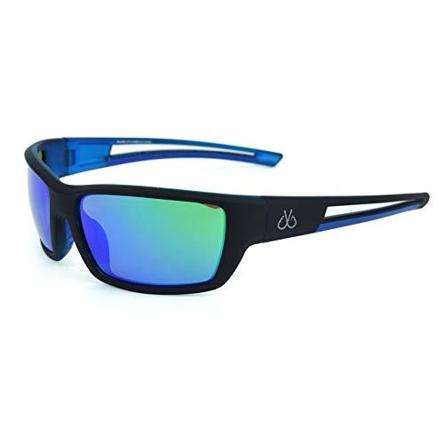 Filthy Anglers Balsam Polarized Fishing Sunglasses, Matte Black Wrap around Frame, Polarized EP Green Mirror Lenses Anti-saltwater