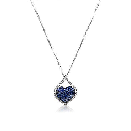 Diamant Anhänger Saphir Herz Kette 750 Collier 18K Weißgold Brillant 0,56 ct