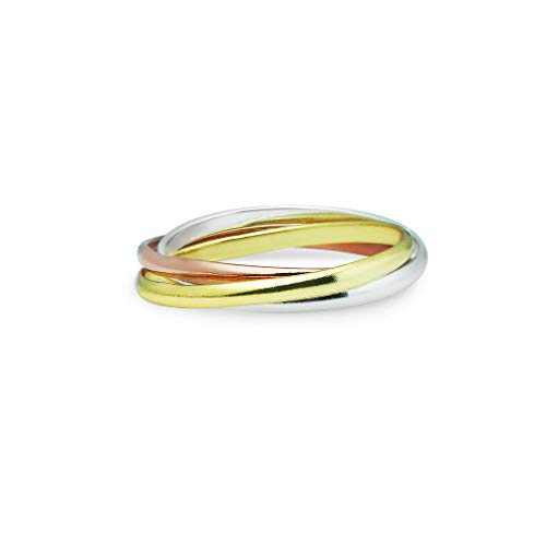 Double Accent Sterling Silver Plain Russian Wedding Ring Trinity Interlocking Rolling Band 9mm Size 4 to 13