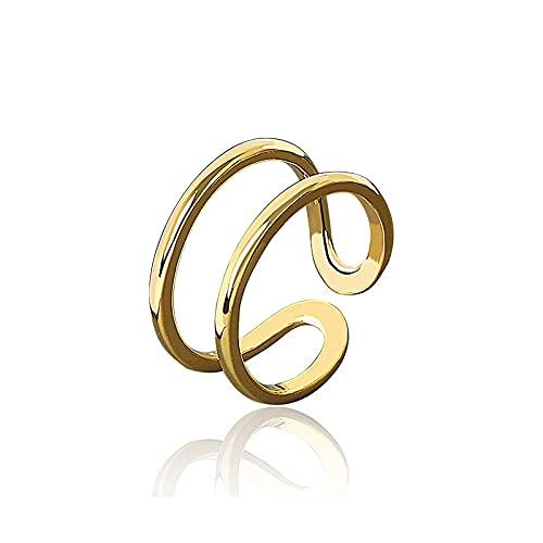 Anillo abierto de Plata de Ley 925 100% para mujer Ins minimalista, Irregular, líneas dobles, joyería de Color dorado, bisutería de cumpleaños