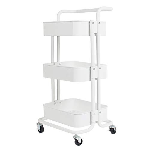 Display4top Carrito con Bloquear Ruedas, Carrito Auxiliar con 3 Nivel para la Cocina, baño, Dormitorio de Almacenamiento (Blanco)