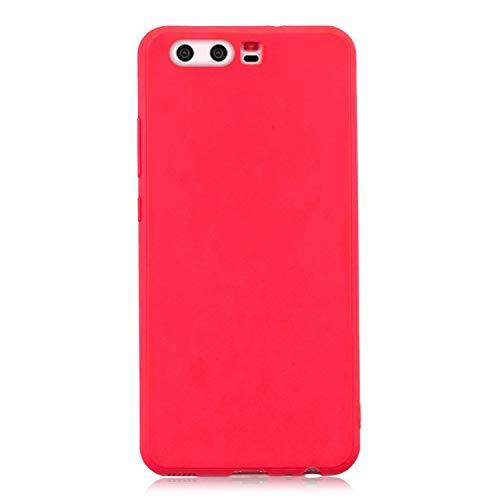 cuzz Funda para Huawei P10+{Protector de Pantalla de Vidrio Templado} Carcasa Silicona Suave Gel Rasguño y Resistente Teléfono Móvil Cover-Rojo