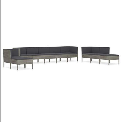 Tidyard Conjuntos Sofa Exterior 8# Set de Muebles de jardín 10 pzas y Cojines ratán sintético Gris