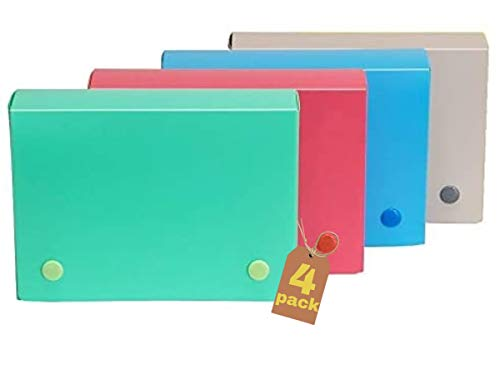 """1InTheOffice Index Card Case 3x5, Index Card Holder 3"""" x 5"""" (4 Pack), Assorted Colors"""