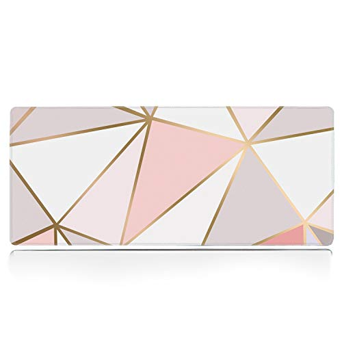 """ZYCCW Large Gaming XXL Mouse Pad with Stitched Edge 31.5""""x11.8""""x0.15"""" Rose Gold Marble Mouse Mat Customized Extended Gaming Mouse Pad Anti-Slip Rubber Base Ergonomic Mouse Pad (Rose Gold Mouse pad)"""
