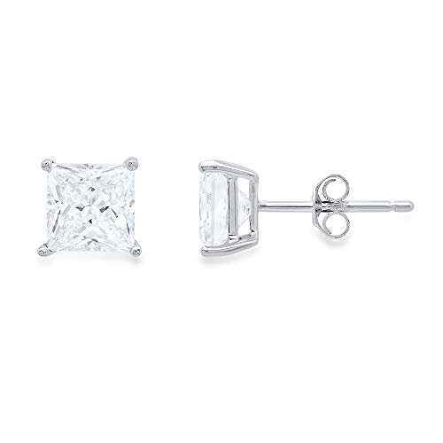 4.0 ct Princess Brilliant Cut Simulated Diamond CZ Solitaire Stud Earrings in 14k White Gold Push Back
