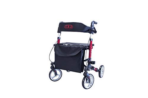 Antar Aluminium Vierrad Leichtgewicht-Reise-Rollator Rot