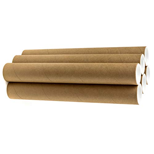 """2"""" x 18"""" Cardboard Mailing Tubes - 6 Pack with White Caps, Poster Tubes, Document Tubes, Shipping Tubes for Storage, Mailing, and Protecting Your Art, Drawings, Posters & Prints"""