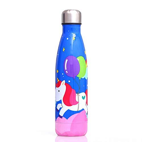 Ousyaah Botella de Agua Aislada de Acero Inoxidable, MilkyBottle con Lindo Patrón de Unicornio, Cantimplora Termo Aislamiento de Doble Vacío - Fría Durante 24h, Caliente Durante 12h - Sin BPA - 500 ml