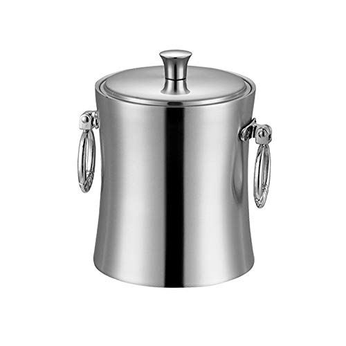 JIAYOUA Cubo de Hielo de Acero Inoxidable Espeso de 1 Litro, Enfriador de Champán con Tapa, Barbacoa De Picnic, Cubo De Hielo para Cerveza Y Vino