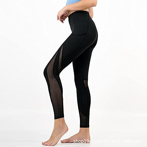 WUHUI Pantaloni da Yoga da Donna Leggings Atletici, Vita Alta e Abbigliamento da Yoga per Il Fitness da Corsa,-Black_S, Sportivi Leggings Anticellulite Vita Alta Push Up Leggins