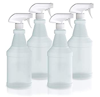 Plastic Spray Bottles with Sprayers - 24oz Empty Spray Bottles for Cleaning Solutions Plant Watering Animal Training and More - No Clog & Leak Proof Heavy Duty Spray Bottles with Sprayers - 4 Pack