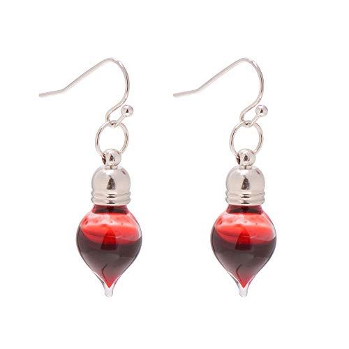 Paialco Jewelry - Orecchini a goccia con fiala di sangue vampiro, per Halloween