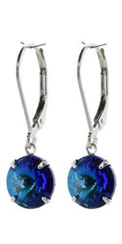 pewterhooter 925 Sterling Silver drop earrings for women made with brilliant Bermuda Blue crystal from Swarovski. Gift box. Made in the UK. Hypoallergenic & Nickle Free for Sensitive Ears.