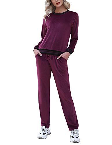 Doaraha Chándal para Mujer de Terciopelo,2 Piezas Casual Sudadera con Cremallera y Pantalones,Traje de Pijama para Primavera,Otoño,Invierno,el Hogar y el Ocio,Vino Tinto,M