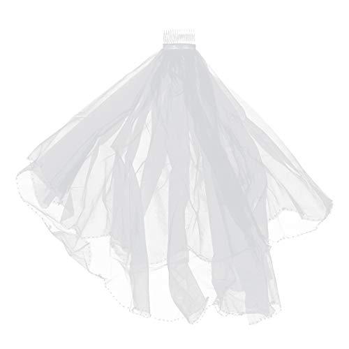 Voile de mariage perlé à la main de voile de mariée Lurrose avec peigne élégant voile de mariée mariage pour accessoires de cheveux de mariée mariage (blanc)