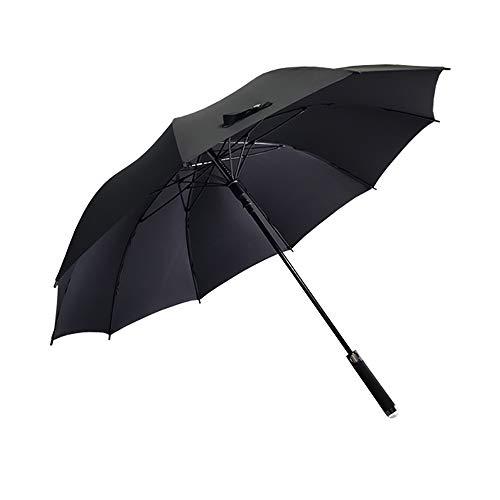 Grote 62 inch automatische reis-golfparaplu voor dames en heren, stormbestendig, winddicht, licht, klassiek voor 2 personen, 10 ribben 125 cm, zwart (zwart) - 4850286483501