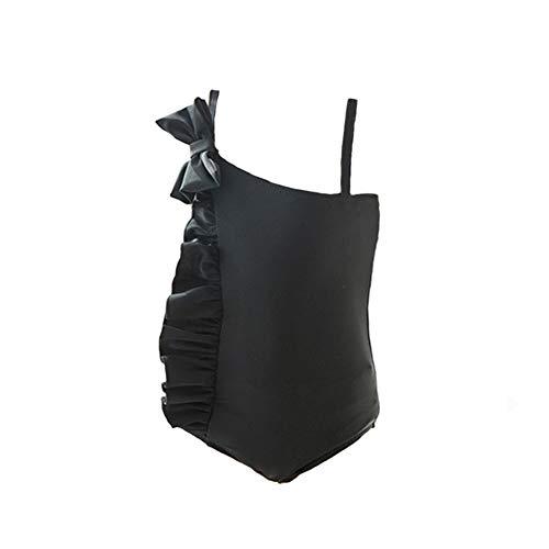 Amooy DiZi - Bañador de una pieza para niñas (traje de baño de 4 a 12 años) Negro Negro ( XL