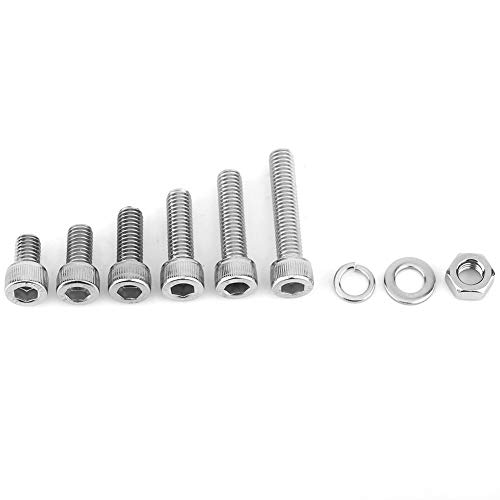120Pcs M6 Stainless Steel Hex Socket Head Cap Bolts Screws Nuts Washers Assortment Kit Used in The Home and Office Appliance