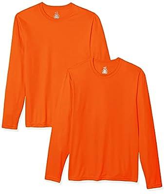 Hanes Men's Long Sleeve Cool Dri T-Shirt UPF 50+, Medium, 2 Pack ,Safety Orange from Hanes Men's Athletic Child Code