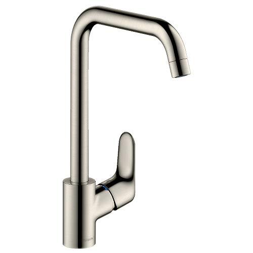 hansgrohe Focus Küchenarmatur (Wasserhahn Küche ohne Schlauchbox, 110°, 150°, 360° schwenkbar, hoher Auslauf 260mm) Edelstahl Finish