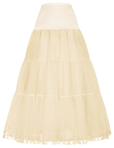 Stylish Netting Swing Petti Skirt for Night Out (XL,Champagne)