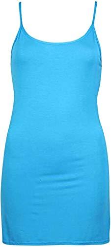 SUCCI SILVO Amazon Marca Delle Donne Pianura Cami Camicetta Plus Size Stretch Long Strappy Vest Canotta Turchese 40-42